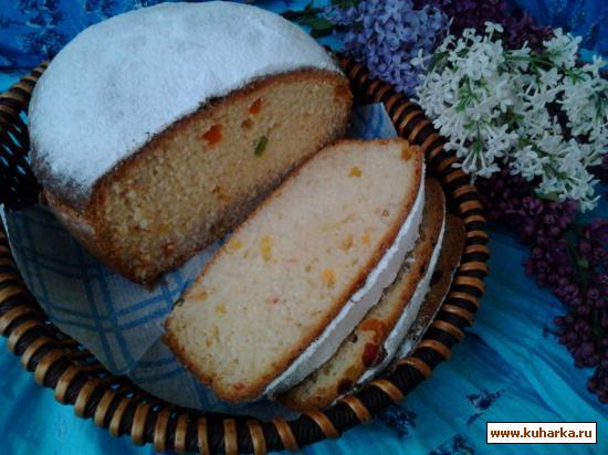 Рецепт Ванильно-сливочный кекс-кулич с цукатами.