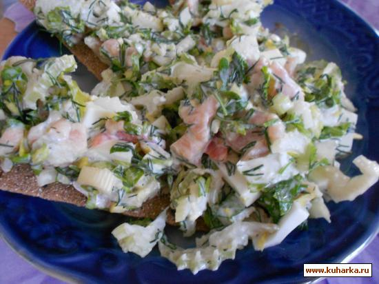 Рецепт Быстрый салат из семги