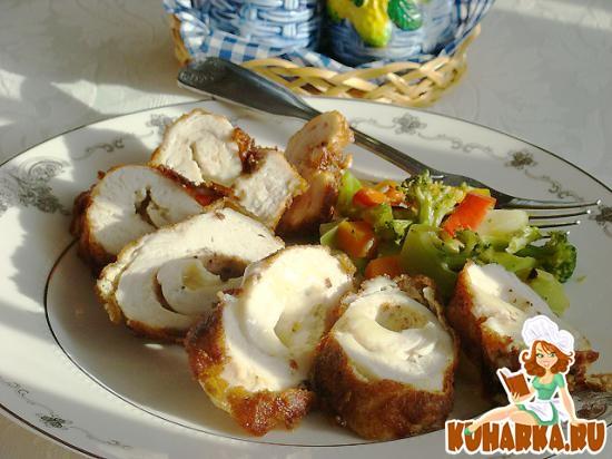 Рецепт Куриные рулетики с сыром и сливочным маслом