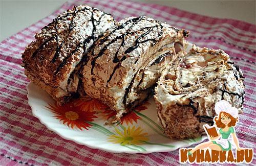 Рецепт Меренговый рулет с маскарпоне и шоколадом