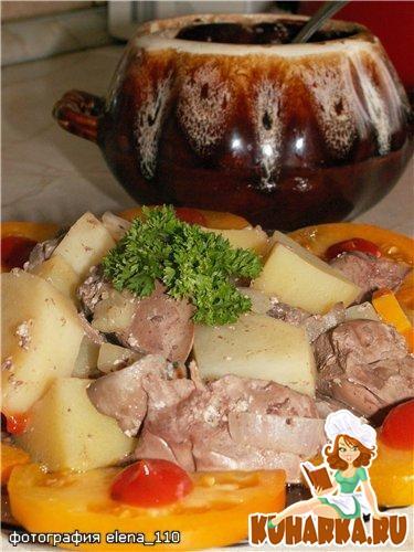Рецепт Горшочек с печенью и грибами