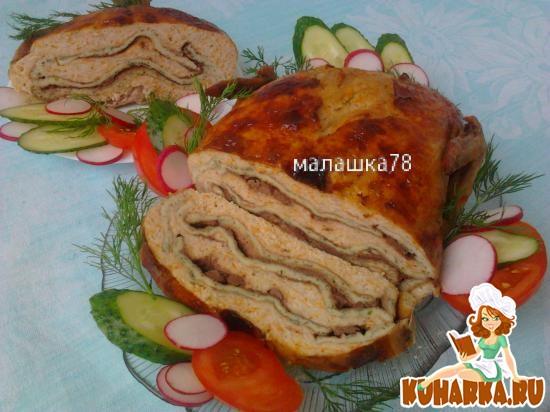 Рецепт Куриный галантин с печенью и омлетом.