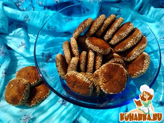 Рецепт Шоколадно-кофейное печенье в кунжуте.