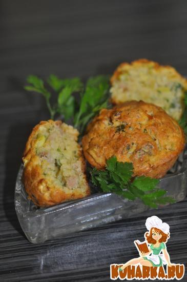 Рецепт Ароматные кабачковые кексы с ветчиной
