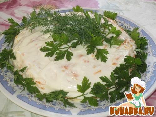 Рецепт Слоёный куриный салатик