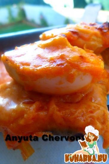 Рецепт Запечёные яйца в томате.