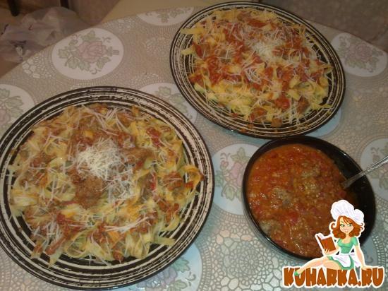 Рецепт Паста с мясными шариками в соусе