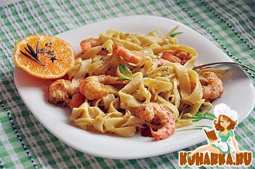 Рецепт Апельсиновые феттучине с креветками