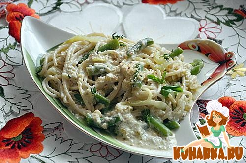 Рецепт Спагетти с кабачками, фасолью в ореховом соусе