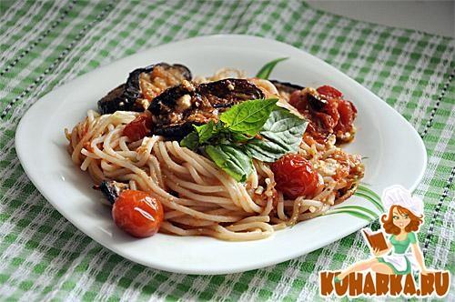 Рецепт Запеченные спагетти с баклажанами и томатами