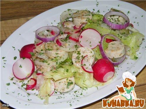 Рецепт Баварский салат с белой колбаской