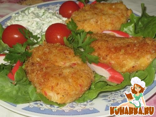 Рецепт Картофельно-крабовые котлетки с чесночным соусом
