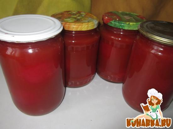 Рецепт Огурцы и помидоры в томатном соке.