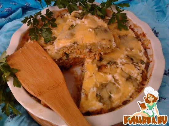 Рецепт Запеканка из кабачков и грибов под сырной корочкой.