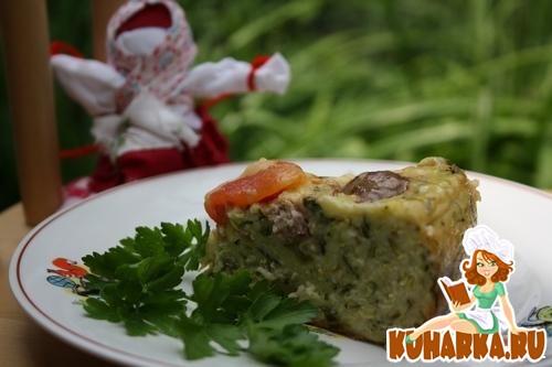 Рецепт Кабачковый пирог с фрикадельками.
