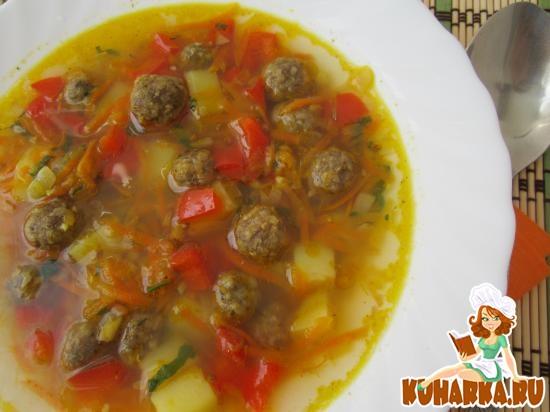 Рецепт Суп с тыквой и фрикадельками.