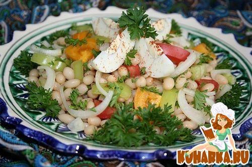 Рецепт Турецкий салат из белой фасоли (Fasulye-Piyaz).