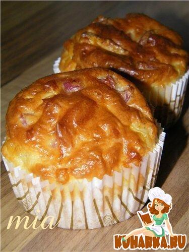 Рецепт Сырные маффины с ветчиной