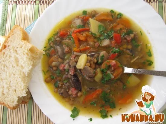 Рецепт Грибной суп с чечевицей.