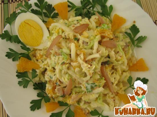 Рецепт Салат из пекинской капусты с апельсинами и куриным филе.