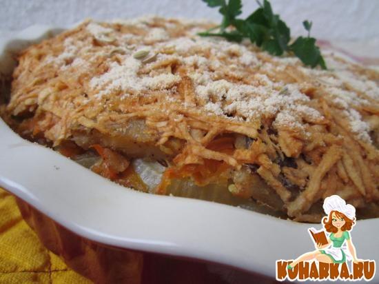 Рецепт Картофельно-рыбная запеканка под яблочной шубой.