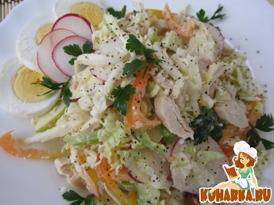 Рецепт Витаминный салат из сельдерея и куриного филе.