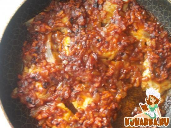 Рецепт Тилапия,запеченная под морковно-томатной шапкой