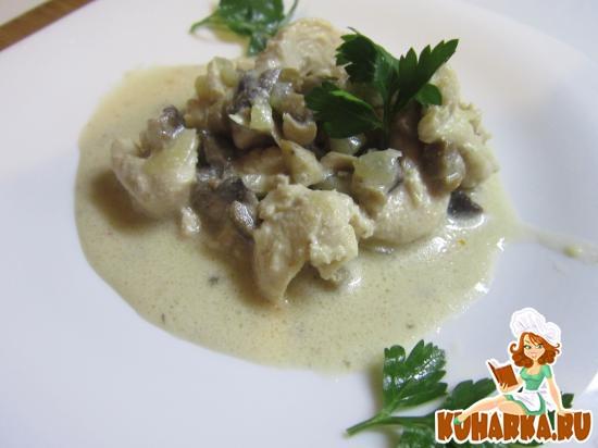 Рецепт Куриное филе с грибам под сливочным соусом