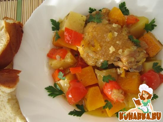 Рецепт Рагу из курицы и тыквы в белом вине.