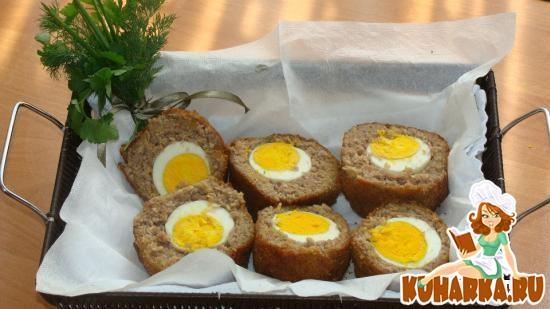 Рецепт Рулет из мясного фарша с яйцами