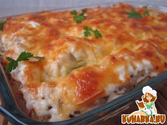 Рецепт Рыбная запеканка на гречнево-овощной подушке.