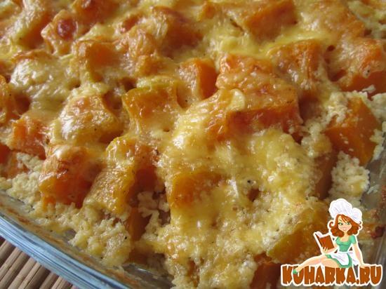 Рецепт Тыква с чесноком и сыром, запеченная в сметане.