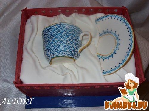 """Рецепт Торт """"Чашка в подарочной коробке"""""""