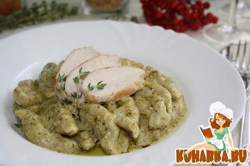 Рецепт Кавателли с курицей в сливочном соусе песто.
