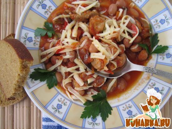 Рецепт Острая фасоль с мясом в томате.