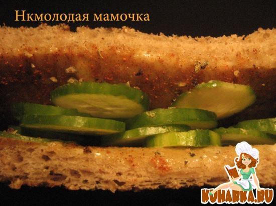 Рецепт Бутерброд с огурцом.