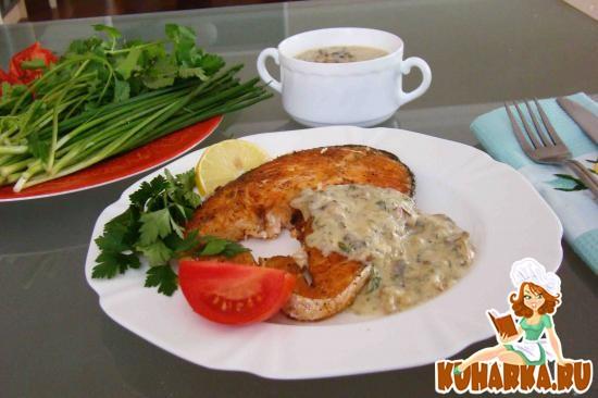 Рецепт Семга со сливочным соусом и грибами