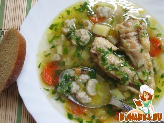 Рецепт Овощной суп с гречневыми галушками.