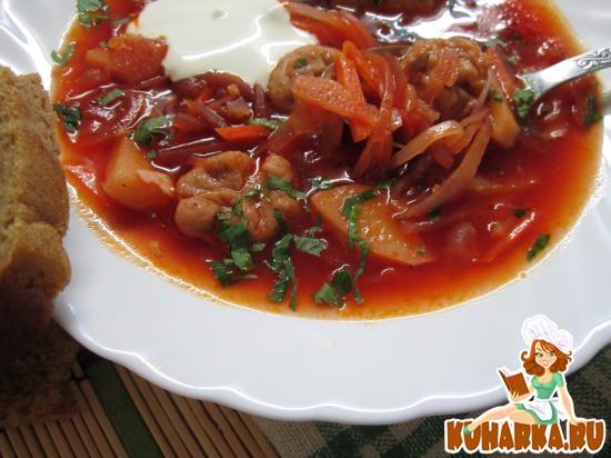Рецепт Полтавский борщ с галушками.