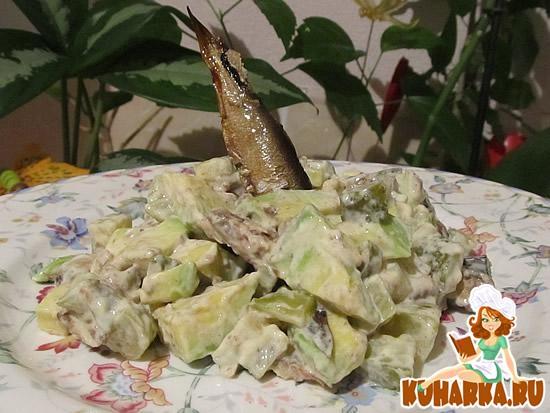 Рецепт Шпротный салат с авокадо