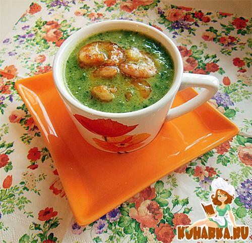 Рецепт Картофельно-шпинатный суп-пюре с креветками