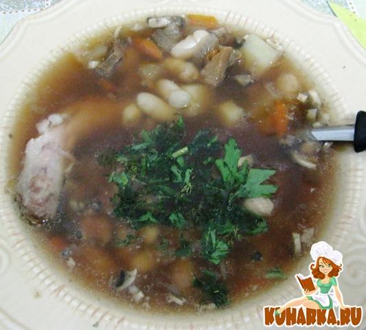 Рецепт Суп фасолевый с грибами
