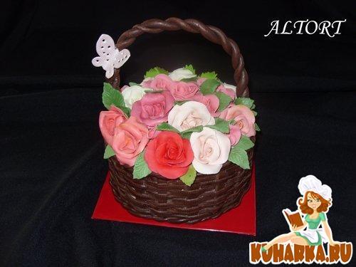 Торт корзина с цветами из мастики мастер