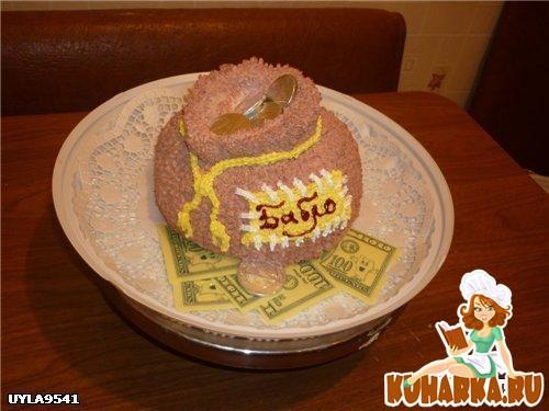 """Рецепт Кремовый торт """"Мешочек бабла"""""""