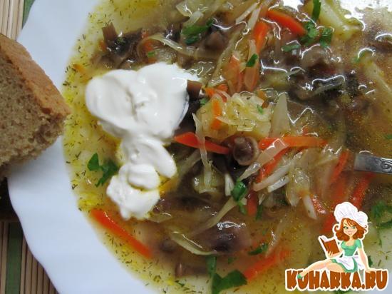 Рецепт Грибной суп с капустой.