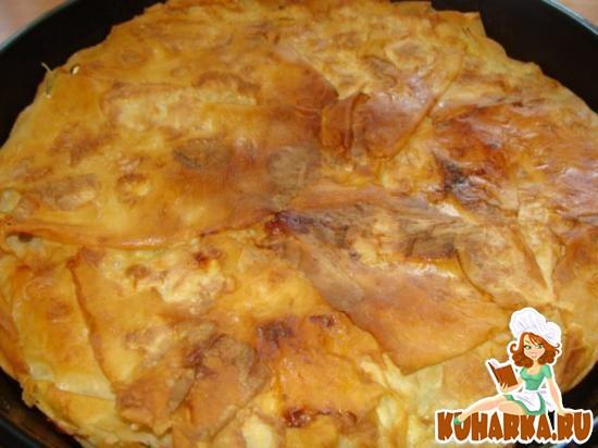 Рецепт Турецкий пирог-Тепси бёрек с сыром и зеленью