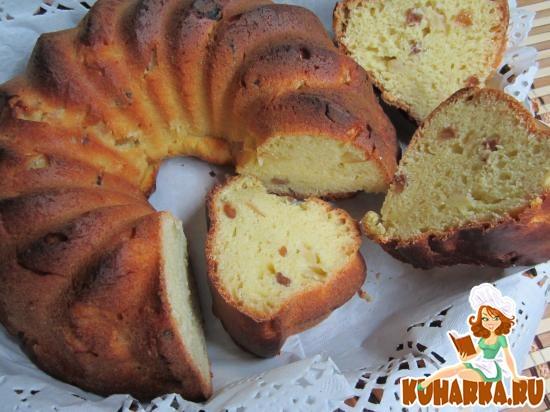 Рецепт Дрожжевой кекс с яблоками.