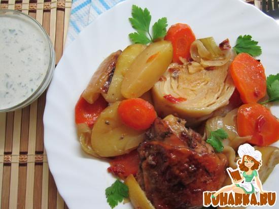 Рецепт Курица, запеченная с овощами и лимоном.