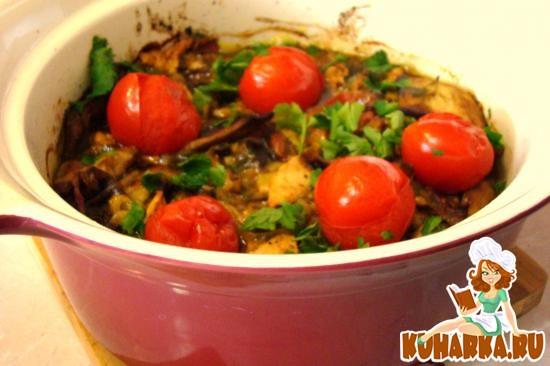 Рецепт Баклажаны с луком пореем и куриной грудинкой