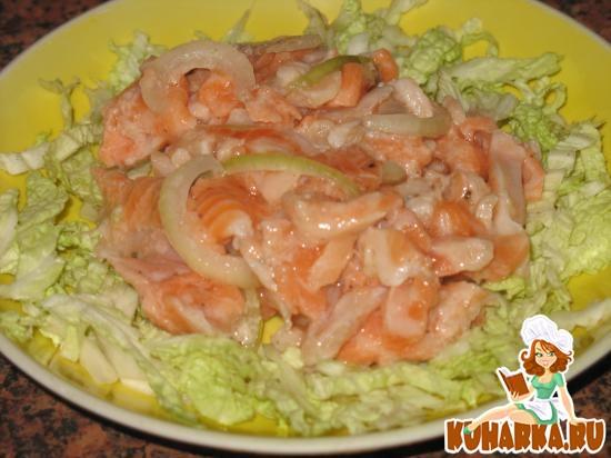 Рецепт Маринованный салат из семги с луком